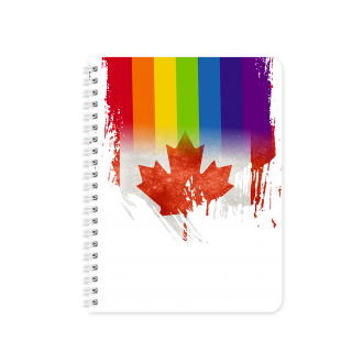 Canadian Flag with Pride Colours - Planner & Notebook Cover -...