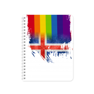 Icelandic Flag with Pride Colours - Planner & Notebook Cover -...