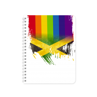 Jamaican Flag with Pride Colours - Planner & Notebook Cover -...