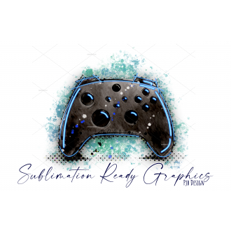 Games Controller Neon Blue Splatter Perfect for Birthday...