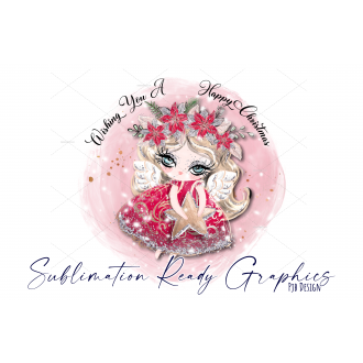 Red Angel Christmas Bauble Design with Text - Sublimation...