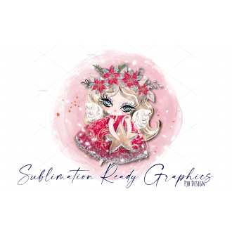 Red Angel Christmas Bauble Design Blank - Sublimation Ready...