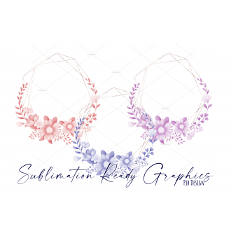 3 Floral Frame with Lilac, Blue & Pink Tinted Flowers & Gold...