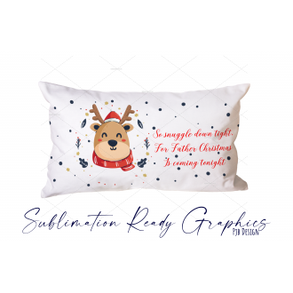 Christmas Eve Pillowcase Design Snuggle Down Reindeer With...