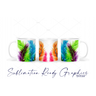 Colourful Feathers Multi Use Design - Sublimation Ready