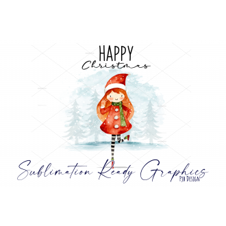 Festive Multi use Design With Girl in Santa Hat - Sublimation Ready