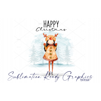Festive Multi use Design With Girl in Reindeer Hat -...