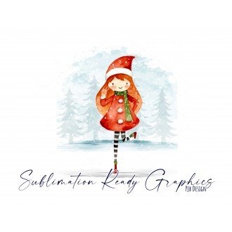 No Text Version of Festive Multi use Design With Girl in Santa...