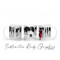 Winter Woodland Scene Girl in Red Coat - Ceramic Mug Wrap -...