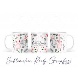 Festive Baubles Christmas 11oz Mug Design - Ceramic Mug Wrap -...
