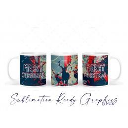 Christmas Deer Abstract Red & Blue - 11oz Mug Design - Ceramic...
