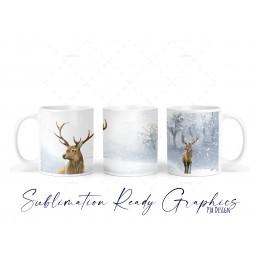 Winter Scene With Snow & Deer Christmas Mug - 11oz Mug Design...