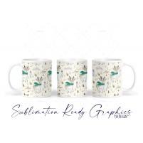 Deer & Winter Icons Pattern Christmas Mug - 11oz Mug Design -...