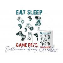 Vintage Style Gamer Design Eat Sleep Icons - Dye Sublimation...