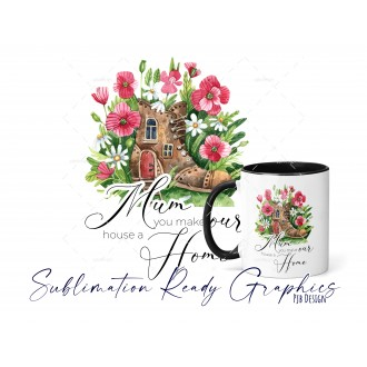 Mothers Day Floral Multi Use Design Mum Text - Digital...