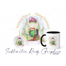 Elf Christmas Bauble Blank Bottom