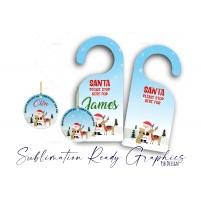 Santa Stop Here - Christmas Door Hanger & Baubles Set