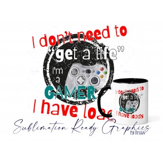 Gamer Life - Yellow & Teal Text Included