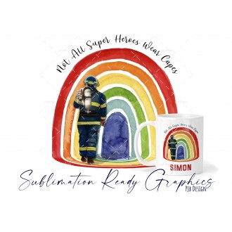 Firemen Set in Navy 2 Designs For Cushions & Mugs Multi Use...
