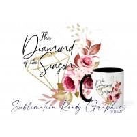 Diamond Floral Frame Mug & Multi Use Set Design - Sublimation...