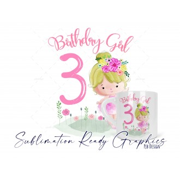 6oz Polymer 3rd Birthday Girl Mug Wrap Digital Sublimation...
