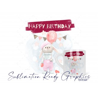 6oz Polymer Birthday Rabbits & Balloons Pink Mug Wrap Digital...