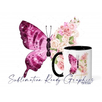 Floral Butterfly Multi Use Sublimation Design Template
