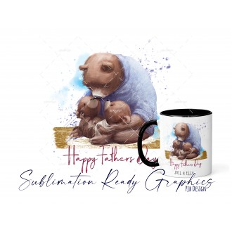 Twins Happy Fathers Day Multi Use Design - Sublimation Ready