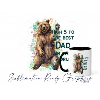 High 5 Bear Fathers Day Multi Use Design - Sublimation Ready