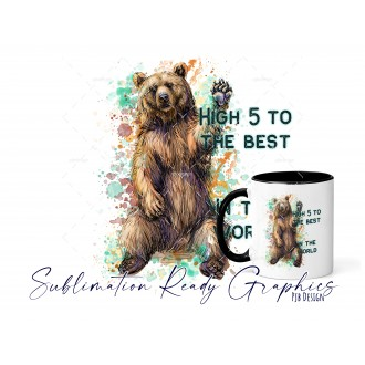 High 5 Bear [add your own text] Multi Use Design - Sublimation...
