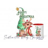 Festive Reindeer Christmas Tree Design - Sublimation Ready