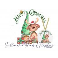 Festive Reindeer Christmas Tree Bauble Design - Sublimation Ready