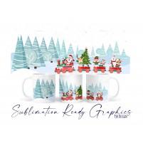 Christmas Santa Train Mug Wrap Design - No Text - Sublimation...