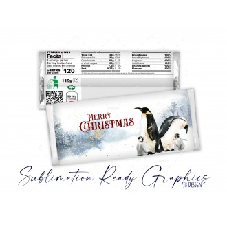 Merry Christmas Chocolate Bar Penguins Galaxy Replacement Wrapper