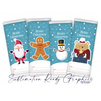 Chocolate Wrapper Set of 4 Merry Christmas Gift Tag Design...