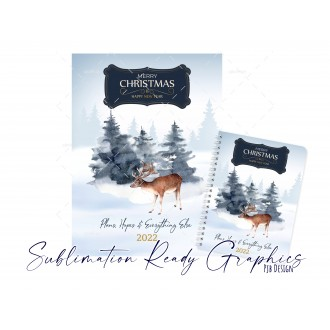 Winter Deer Christmas Themed Planner Front Digital Design for...