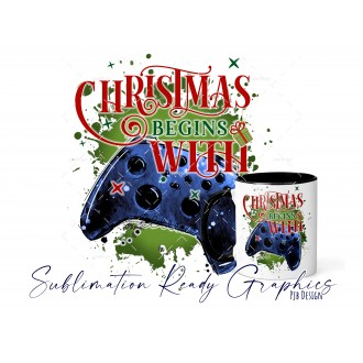 Christmas Begins With - Xbox Blue Gamer - Festive Multi Use...