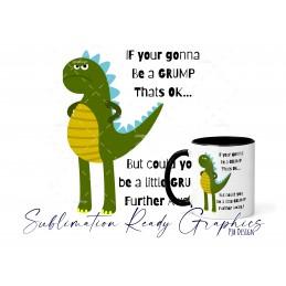 Grumpy Dino Mug Wrap & Multi Use Design - Digital Sublimation...
