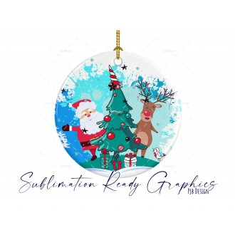 Santa & Reindeer Bauble without Text with Splashes - Multi Use...