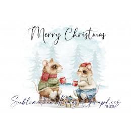 Christmas Cheers Multi Use Digital Design With Mice - Digital...
