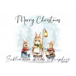 Christmas Carols Multi Use Digital Design With Rabbits -...