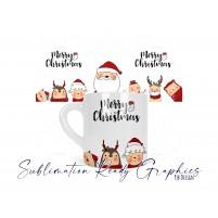 6oz Polymer Santa & Friends Mug Wrap + A4 Sheet 4 Up Digital...