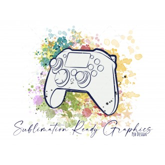 Controller & Splashes Textless Add Your Own Text Digital...