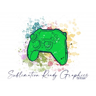 Controller & Splashes in Green Textless Add Your Own Text...