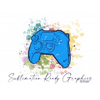 Controller & Splashes in Blue Textless Add Your Own Text...