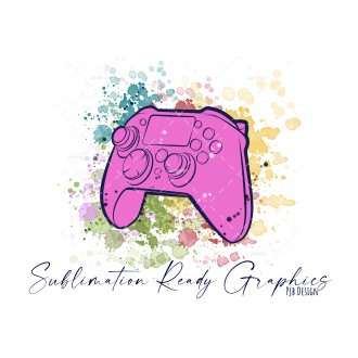 Controller & Splashes in Pink Textless Add Your Own Text...
