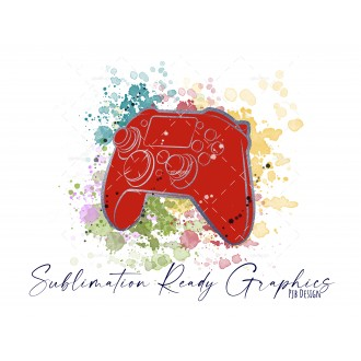 Controller & Splashes in Red/Silver Textless Add Your Own Text...
