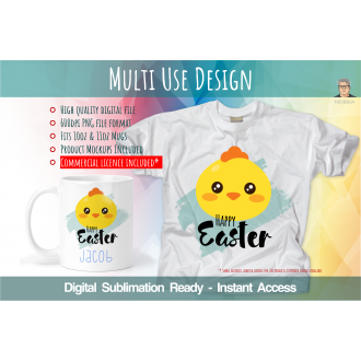 Cool Easter Chick Multi Use Digital Design - Digital Sublimation Multi Use Design