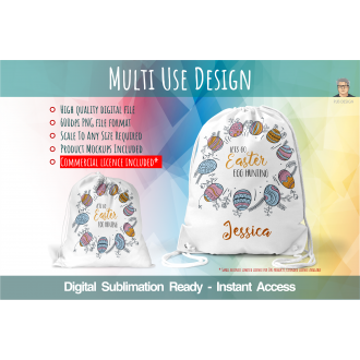 Easter Egg Themed Sack Design - Digital Sublimation File Space...