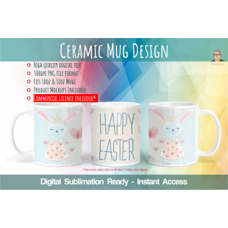 Happy Easter Theme - Digital Sublimation File for 10oz & 11oz...